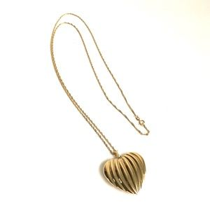 "Vintage 14K Gold Puffy Heart Necklace 30"" Chain"